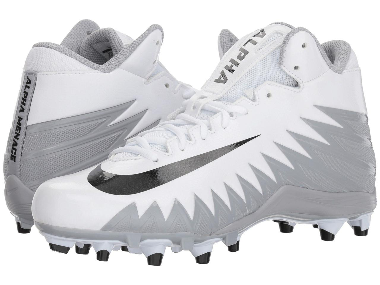 Кроссовки Кеды (Оригинал) Nike Alpha Menace Varsity Mid  White Black Metallic Silver Wolf Grey ecd7598c6
