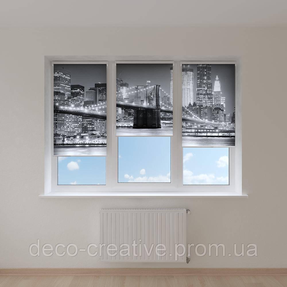 Рулонные шторы Нью Йорк черно белый