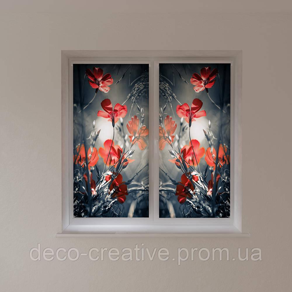 Рулонные шторы необычные цветы