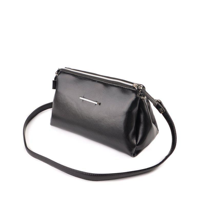 ec19113af31a Женская маленькая сумка-клатч через плечо М143-Z черная кроссбоди на молнии  - Интернет