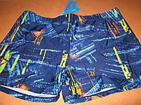 Плавки-боксеры для купания мужские синие с принтом  р.52