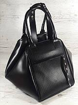 141 Натуральная кожа, объемная сумка-трансформер женская спортивная сумка кожаная дорожная черная сумка черная, фото 3