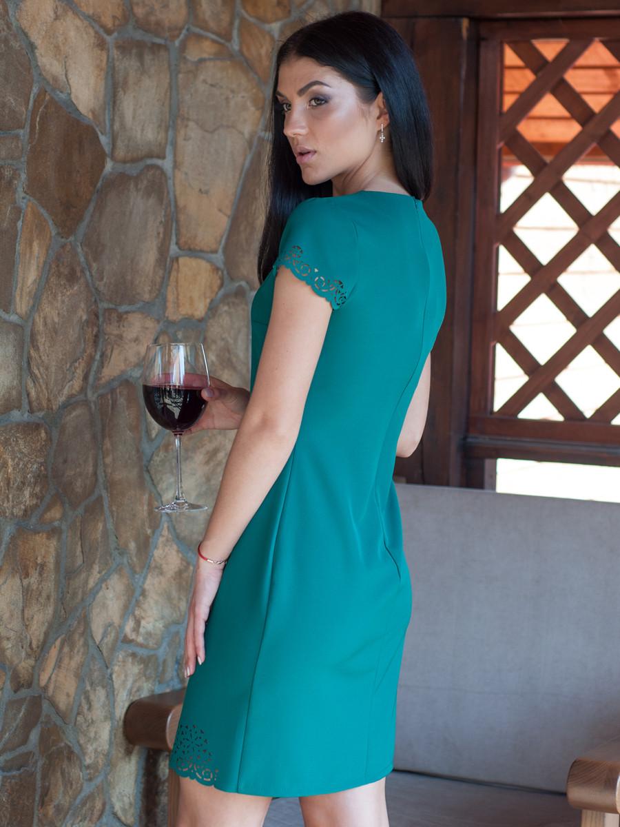 Жіноче плаття з перфорацією вище коліна зелене 44