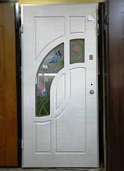 Вхідні двері з вітражем 2,05 х 0,96 L дуб білений