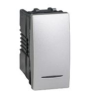 Выключатель кнопочный проходной 1-мод. 16А с подсветкой Алюминий Unica Schneider, MGU3.163.30N
