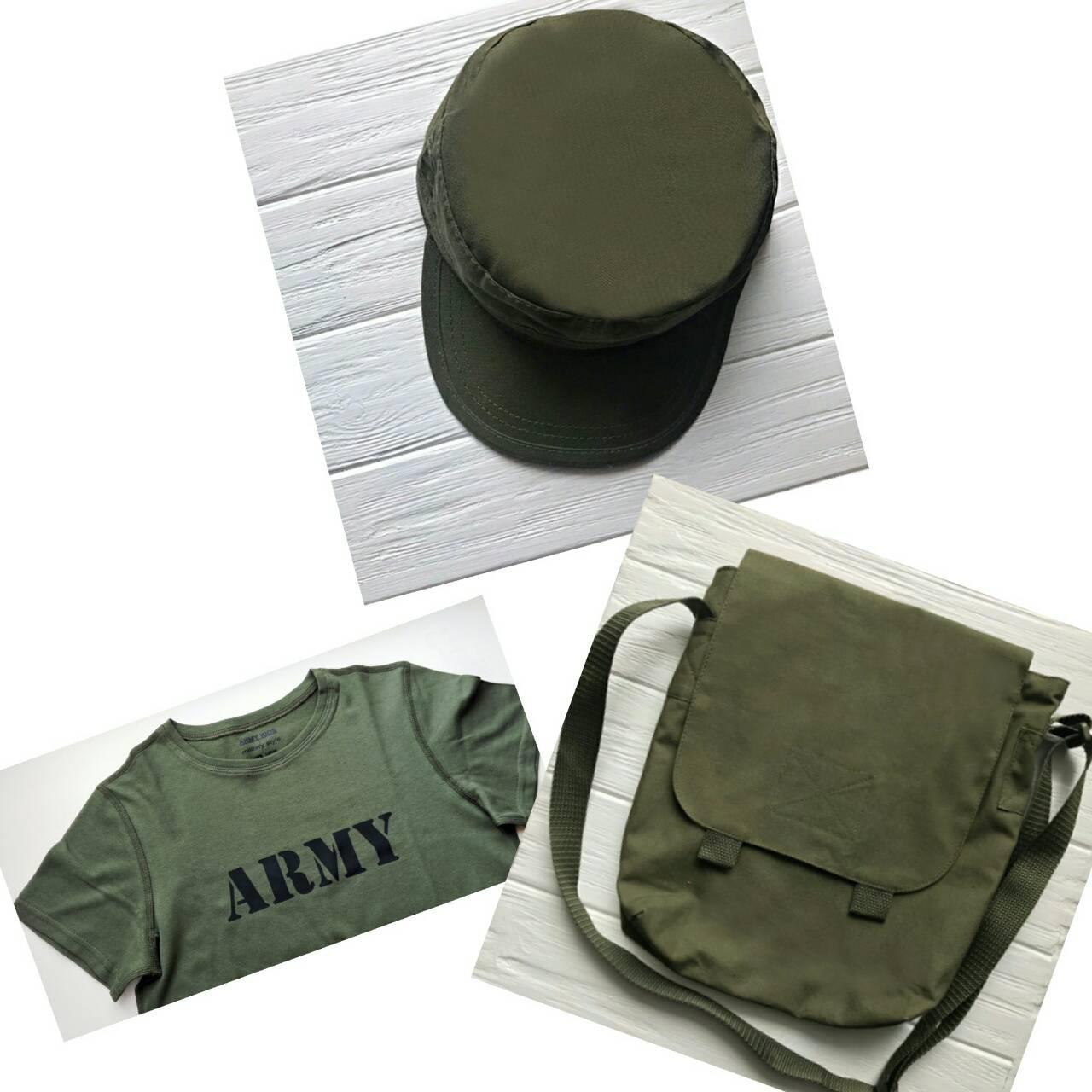 Комплект футболка сумка кепка цвет Олива