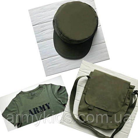 Комплект футболка сумка кепка цвет Олива, фото 2