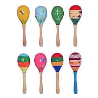 Деревянная игрушка - погремушка Маракас,  8 вариантов цвета и рисунков