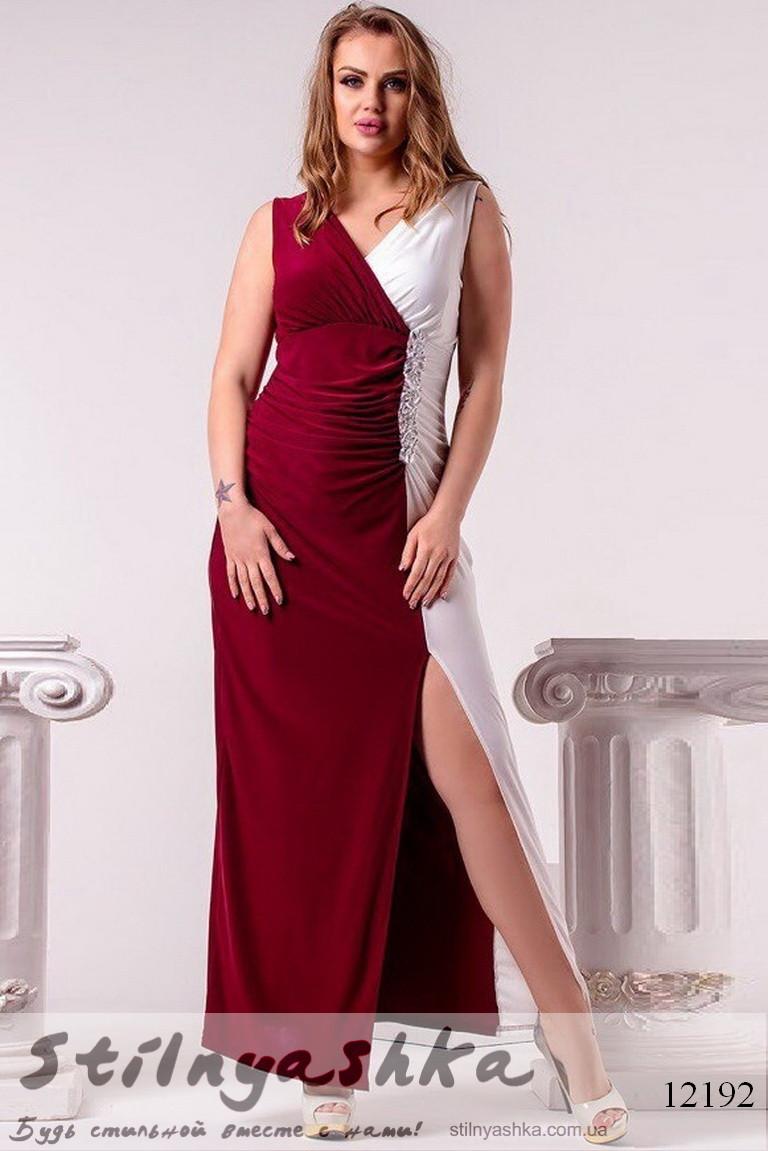 075a5c061362 Вечернее платье для полных с разрезом на ноге марсал с белым