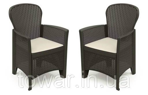 Садовый набор из 2 стульев стульев Rattan EUROHIT Garden