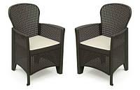 Садовый набор из 2 стульев стульев Rattan EUROHIT Garden, фото 1