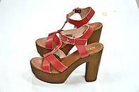 Красные кожаные босоножки на каблуке Roberta Lopes к.-11