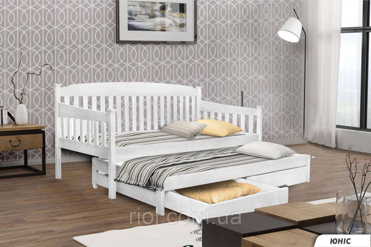 Кровать из массива бука Юнис с дополнительным выдвижным спальным местом