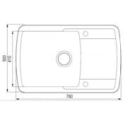 Мойка гранитная серая для кухни 78*50*20 см ADAMANT OPTIMAKS (светлый серый), фото 3