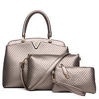 Женская сумка набор 3в1 золотистый из качественной экокожи опт , фото 1