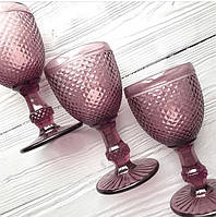 """Бокалы из цветного стекла """" Кубок"""" аметист розовый. Цветные бокалы, винтажные бокалы для вина"""