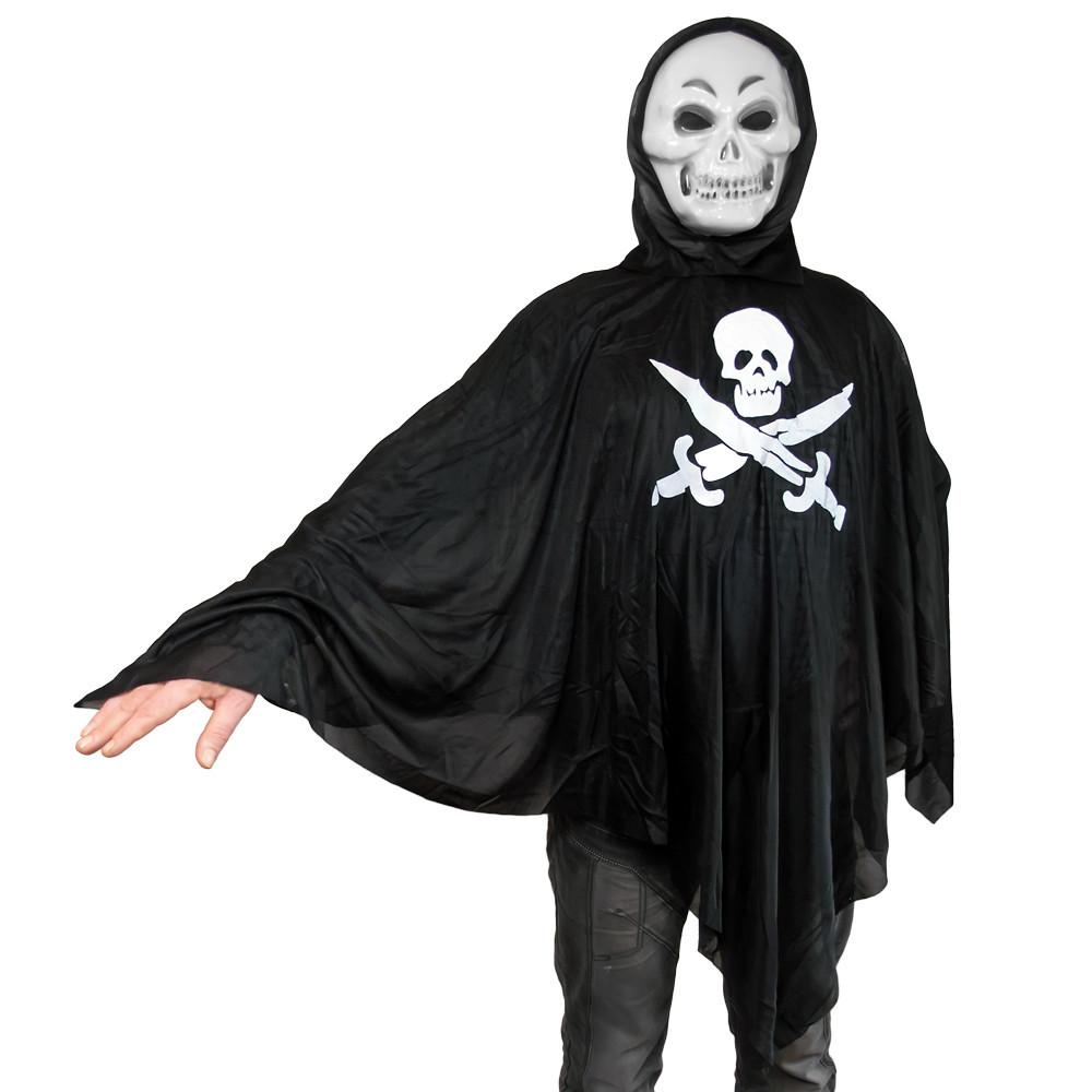 Карнавальный плащ Веселый Роджер с маской