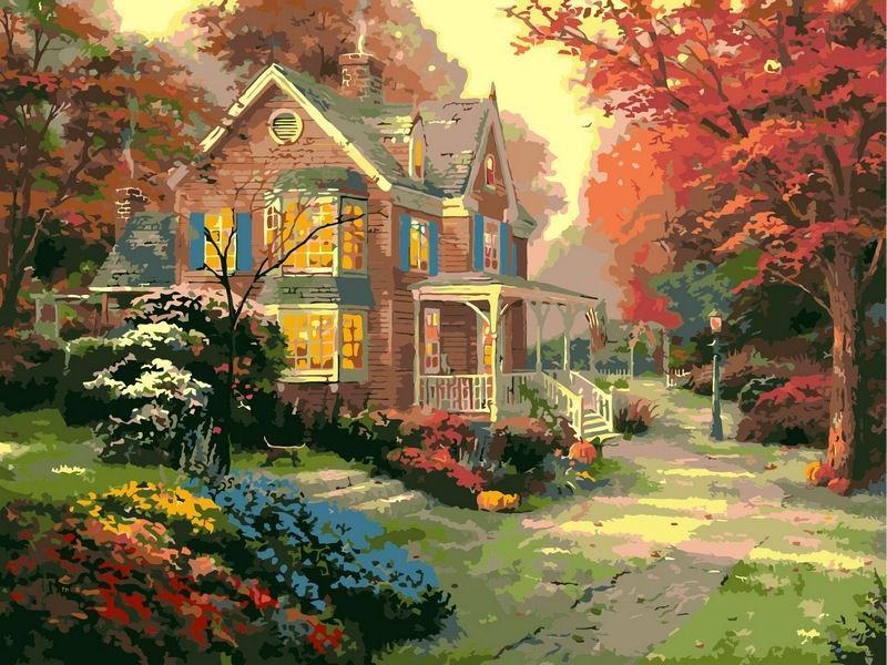 Картина раскраска по номерам на холсте 40*50см Babylon VP154 Осенние краски