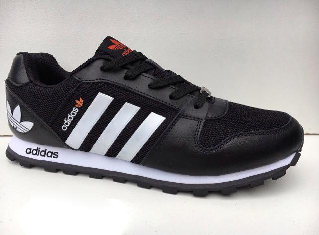 Кроссовки мужские Adidas.Кожа текстиль.Черные с белым