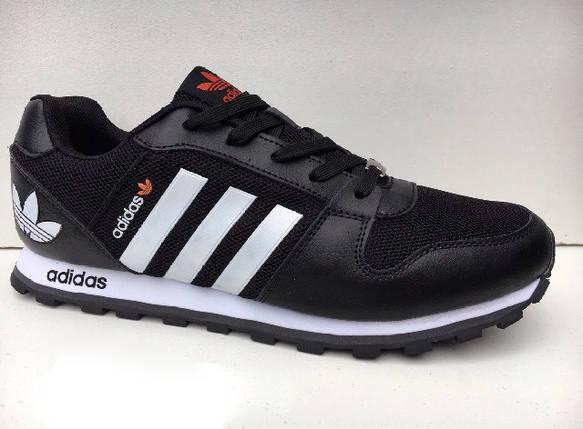 Кроссовки мужские Adidas.Кожа текстиль.Черные с белым , фото 2