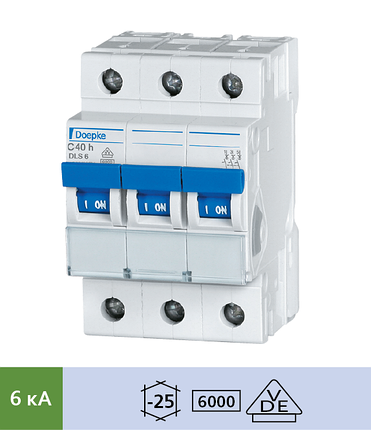Автоматический выключатель Doepke DLS 6h C10-3 (тип C, 3пол., 10 А, 6 кА), dp09914291