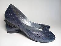 Балетки женские кожаные синего цвета