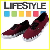 Новые стильные кеды Vans (Ванс, Вансы) Authentic. Разные цвета! Бордовые