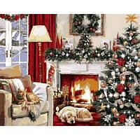 Картина раскраска по номерам на холсте 40*50см Бебилон Турбо VP787 Рождественский вечер у камина