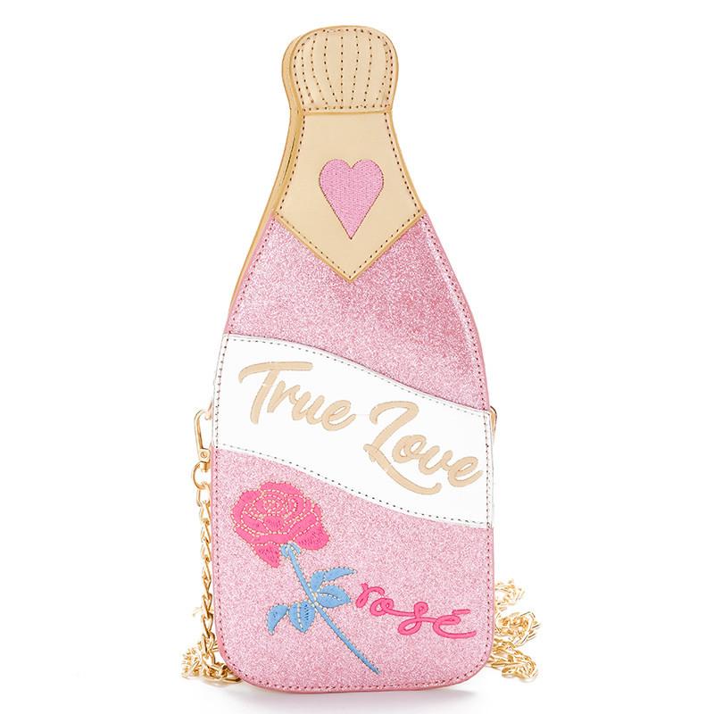 """Розовая сумка в виде бутылки шампанского """"True love"""""""