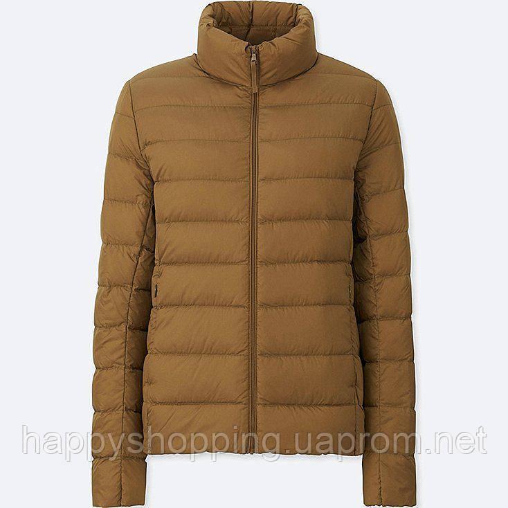 Женская коричневая  легкая куртка на пуху ultra light down осень/весна  Uniqlo (пакуется в мешочек)