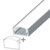 Комплект. Профиль для светодиодной ленты накладной 7х16 мм. ЛП7. Матовый. Неанодированный.