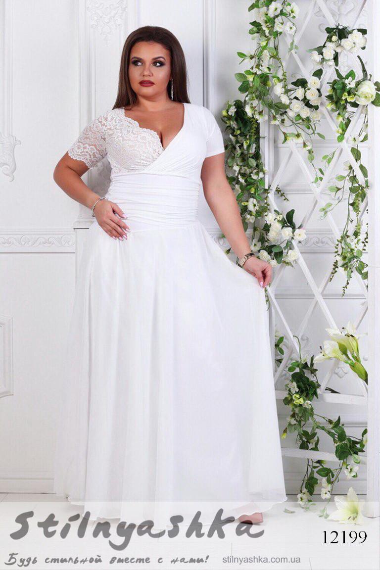 579d7370788 Вечернее платье для полных Амелия белое - Интернет-магазин