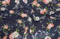 Ткань шифон принт цветы на темно синем фоне