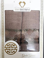 Набор махровых полотенец Gold greek dark begie