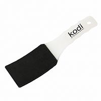 Пилка для педикюра изогнутая (пластиковая белая ручка) 100/180 Kodi