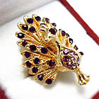 Кольцо Коктейльное под Золото Павлин с Фиолетовыми Стазами, Безразмерное, фото 2