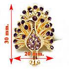 Кольцо Коктейльное под Золото Павлин с Фиолетовыми Стазами, Безразмерное, фото 3