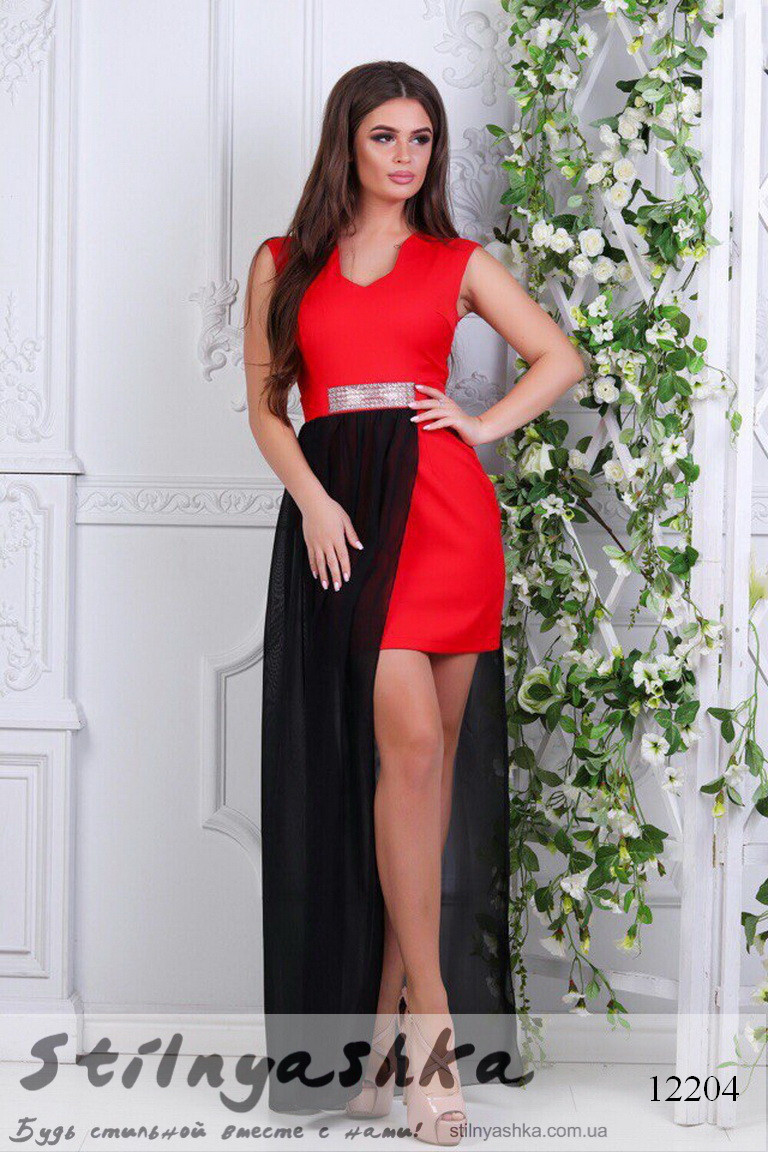 Вечернее платье Подиум красный с черным - Интернет-магазин