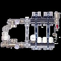 Коллектор для систем отопления GROSS латунь покрытая на двенадцать выходов