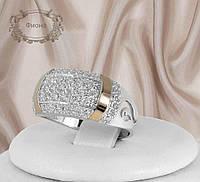 """Серебряное кольцо с золотыми пластинами """"Фиона"""", фото 1"""