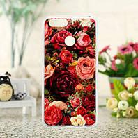 Силиконовый чехол бампер для Huawei Honor 7X с картинкой Розы, фото 1