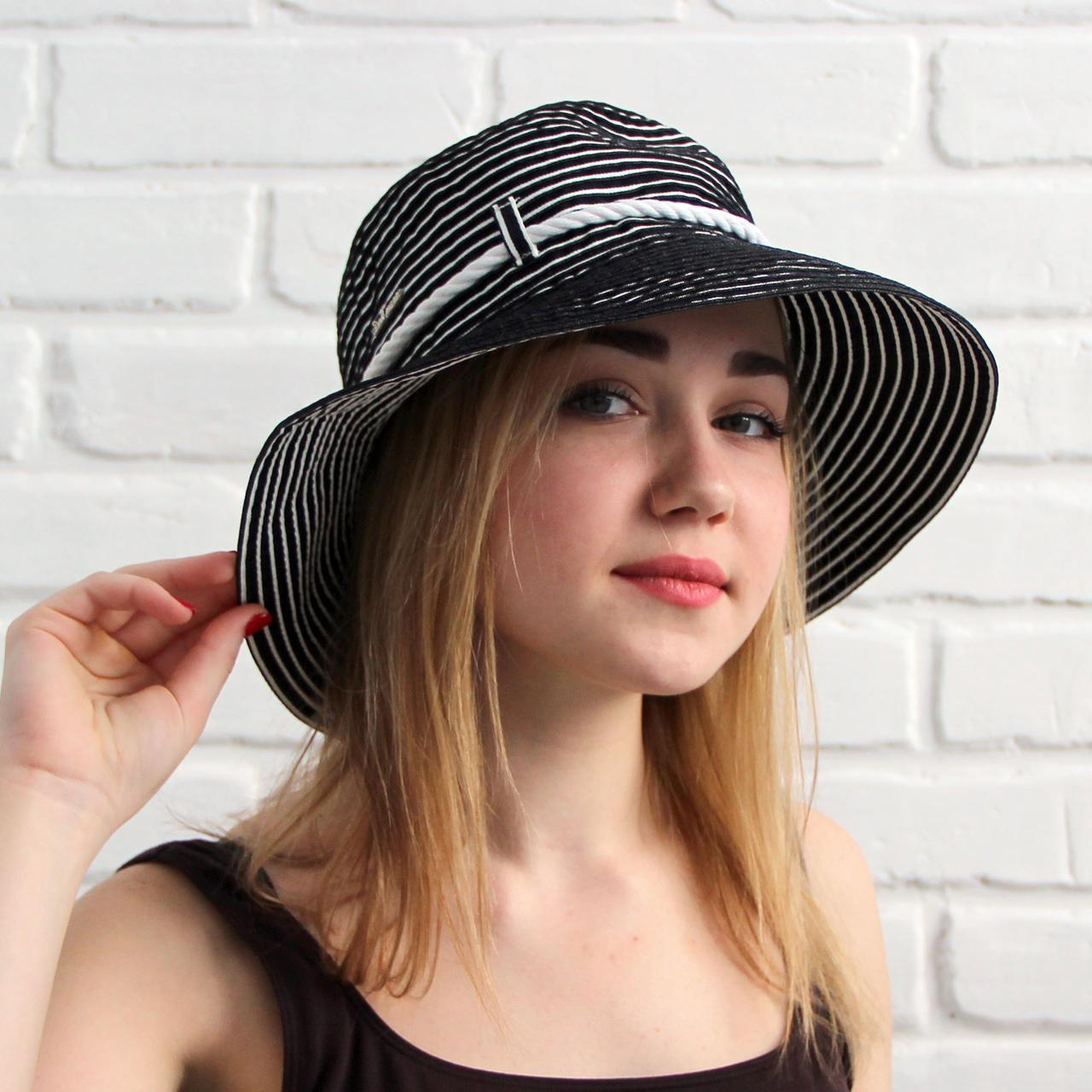 Женская летняя шляпа, черный+белый