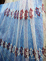 Гардина на белой фатиновой основе с плотной цветной вышивкой Высота 2.8 м На метраж и опт, фото 1