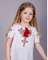 Красивая вышитая блуза для девочки с красным орнаментом, короткий рукав, фото 1