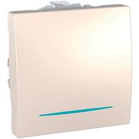 Выключатель кнопочный с подсветкой 1 кл. 2-модульный Schneider Unica Слоновая кость (MGU3.201.25N)