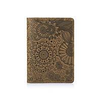 """Оливковая Обложка для паспорта Hi Art PC-01 """"Mehendi Art"""""""