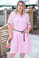 Женское платье летное рубашечного стиля свободного кроя для полных светло-розовое