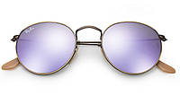 Солнцезащитные очки Ray-Ban Round Metal Flash Lenses Бежево-сиреневый (RB3447 167/4K)