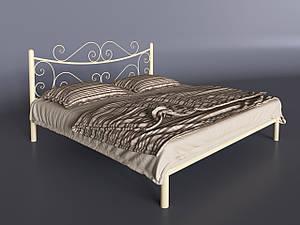 Двоспальне ліжко Tenero Азалія металева бежева з кованим узголів'ям