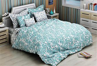 Двуспальный комплект постельного белья 180х220  из бязи Голд Морской Бриз